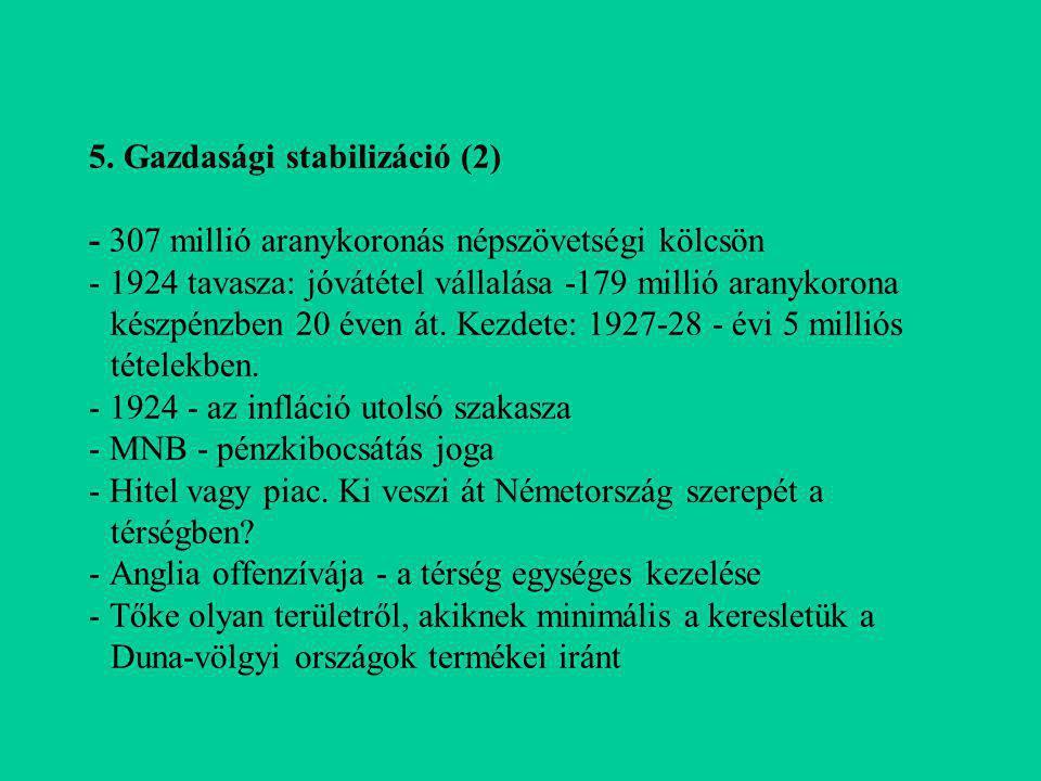 5. Gazdasági stabilizáció (2) - 307 millió aranykoronás népszövetségi kölcsön - 1924 tavasza: jóvátétel vállalása -179 millió aranykorona készpénzben