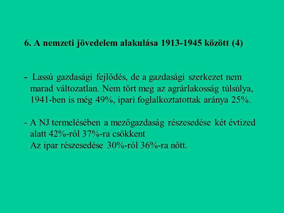 6. A nemzeti jövedelem alakulása 1913-1945 között (4) - Lassú gazdasági fejlődés, de a gazdasági szerkezet nem marad változatlan. Nem tört meg az agrá