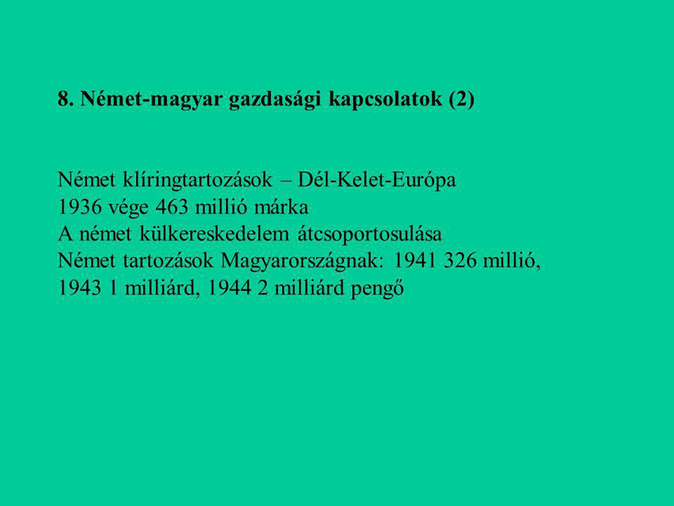 8. Német-magyar gazdasági kapcsolatok (2) Német klíringtartozások – Dél-Kelet-Európa 1936 vége 463 millió márka A német külkereskedelem átcsoportosulá
