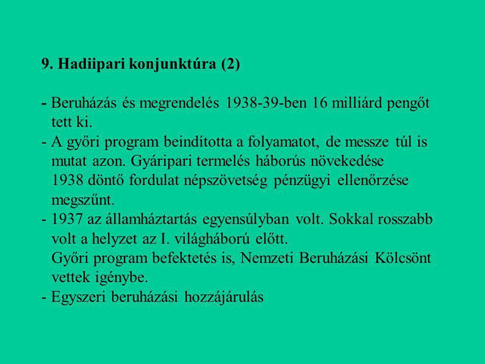 9. Hadiipari konjunktúra (2) - Beruházás és megrendelés 1938-39-ben 16 milliárd pengőt tett ki. - A győri program beindította a folyamatot, de messze