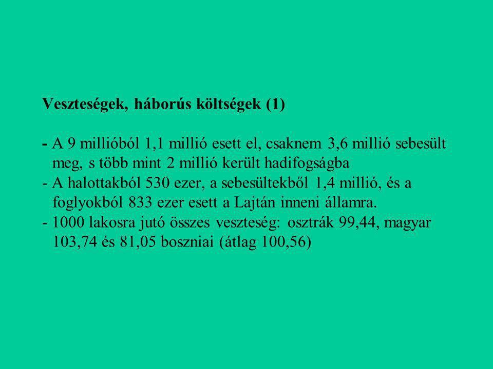Veszteségek, háborús költségek (2) - 1 főre eső összeg: Monarchia 1000 korona, Ausztria 1107 korona és Magyarország 852 korona - Fellner Frigyes becslése alapján Gratz Gusztáv 52.830 ill.