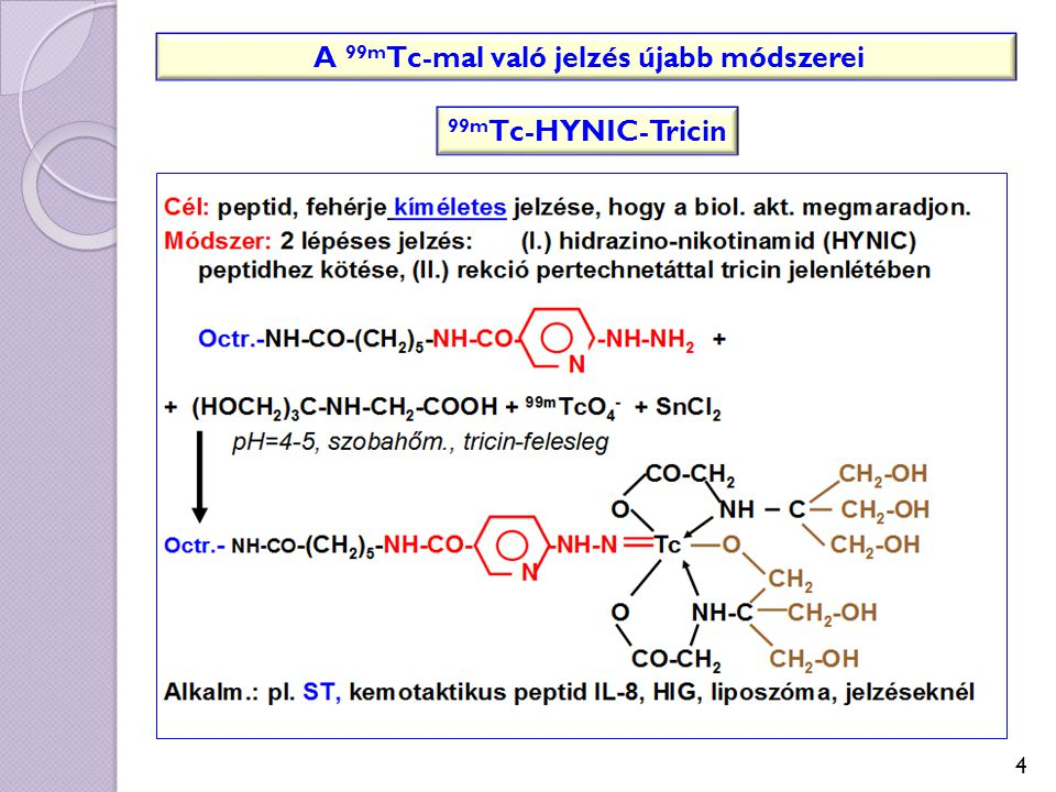 A 99m Tc-mal való jelzés újabb módszerei 99m Tc-HYNIC-Tricin 4