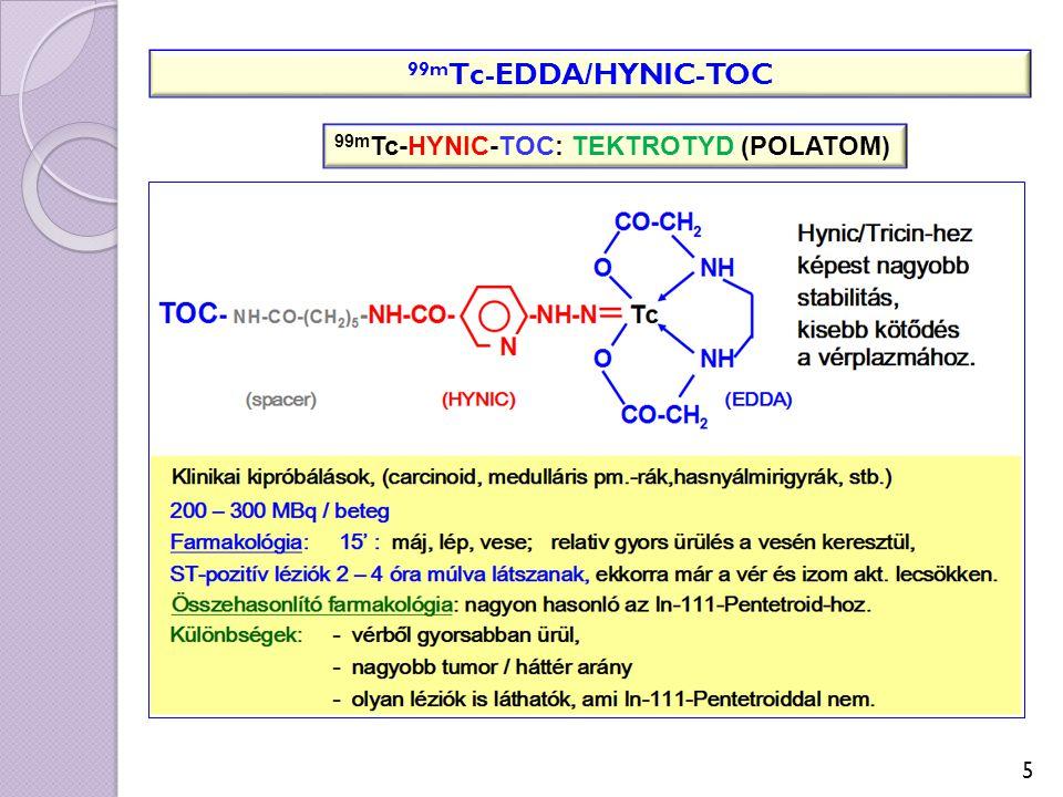 Vapreotid: D-Phe-Cys-Tyr-D-Trp-Lys-Val-Cys-Trp 99m Tc-P829 (NeoSpect, Depreotid): 99m Tc[N 3 S], vapreotid analóg (N-Me)-Phe-Tyr-D-Trp-Lys-Val-Cys-CH 2 -CO-NH-CH 2 -CH(NH 2 )-CO-Lys-Cys-Lys Tc=O ST-2,3,5 altípusú receptorok (tüdőtumorok) Egyéb: 12 %-ban plazmaproteinekhez kötődik, 1-18 % vizelettel ürül Kit tárolása: - 1 0 o C Peptidtartalom: 47  g/ampulla Jelzés: 555-740 MBq 99m TcO 4 1 0 perc forralás Lehűtés: szobahőfokon áll 15 percet, 1 beteg/ampulla Jelzett anyag: 5 óráig stabil (25 o C) Esetleges kicsapódást vizuálisan (ólomüveg mögött) ellenőrizni kell.