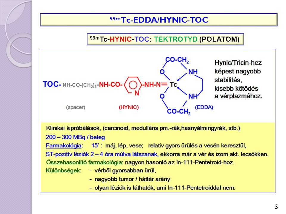 5 99m Tc-EDDA/HYNIC-TOC 99m Tc-HYNIC-TOC: TEKTROTYD (POLATOM)