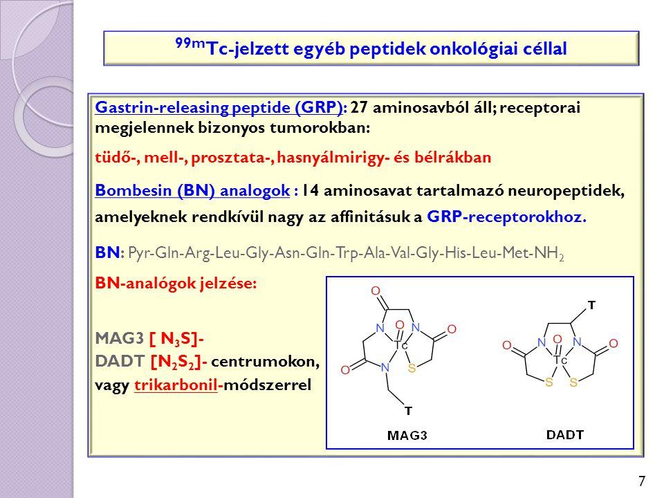 7 99m Tc-jelzett egyéb peptidek onkológiai céllal Gastrin-releasing peptide (GRP): 27 aminosavból áll; receptorai megjelennek bizonyos tumorokban: tüd
