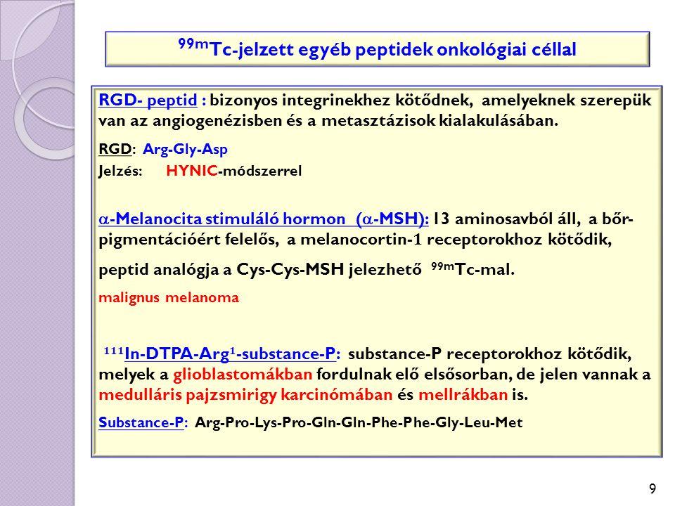 9 RGD- peptid : bizonyos integrinekhez kötődnek, amelyeknek szerepük van az angiogenézisben és a metasztázisok kialakulásában. RGD: Arg-Gly-Asp Jelzés