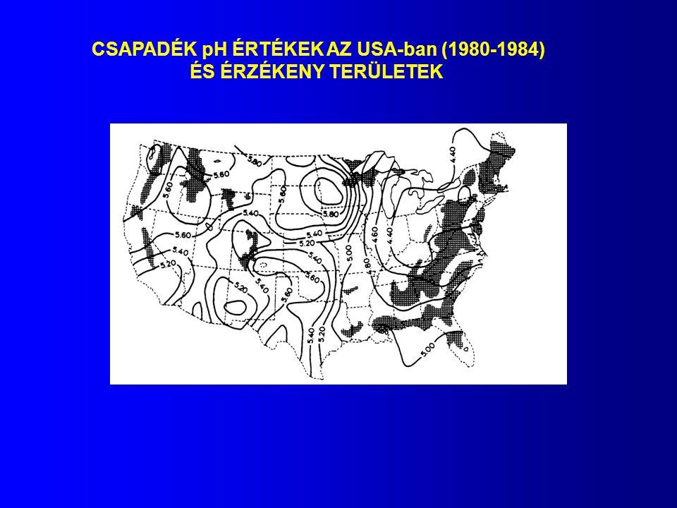 CSAPADÉK pH ÉRTÉKEK AZ USA-ban (1980-1984) ÉS ÉRZÉKENY TERÜLETEK