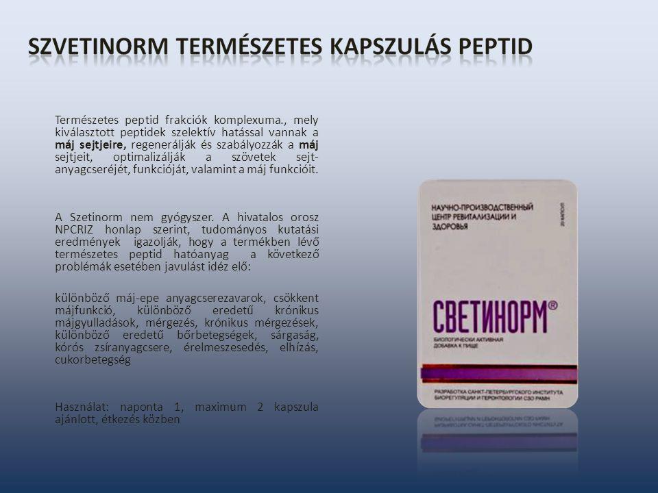 Természetes peptid frakciók komplexuma., mely kiválasztott peptidek szelektív hatással vannak a máj sejtjeire, regenerálják és szabályozzák a máj sejtjeit, optimalizálják a szövetek sejt- anyagcseréjét, funkcióját, valamint a máj funkcióit.