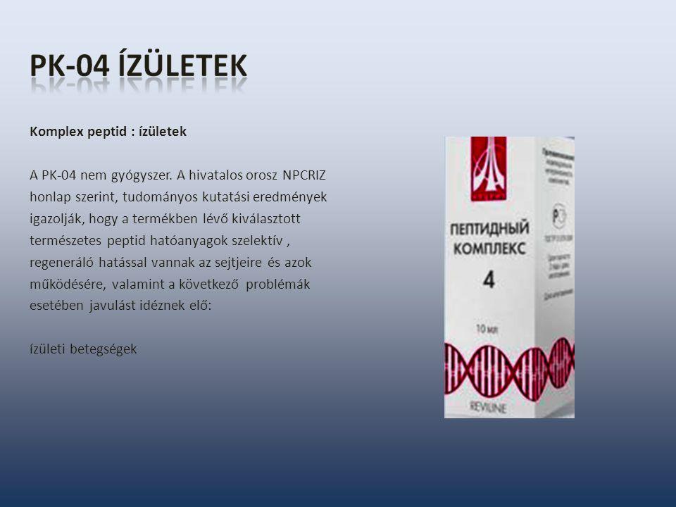 Komplex peptid : ízületek A PK-04 nem gyógyszer. A hivatalos orosz NPCRIZ honlap szerint, tudományos kutatási eredmények igazolják, hogy a termékben l