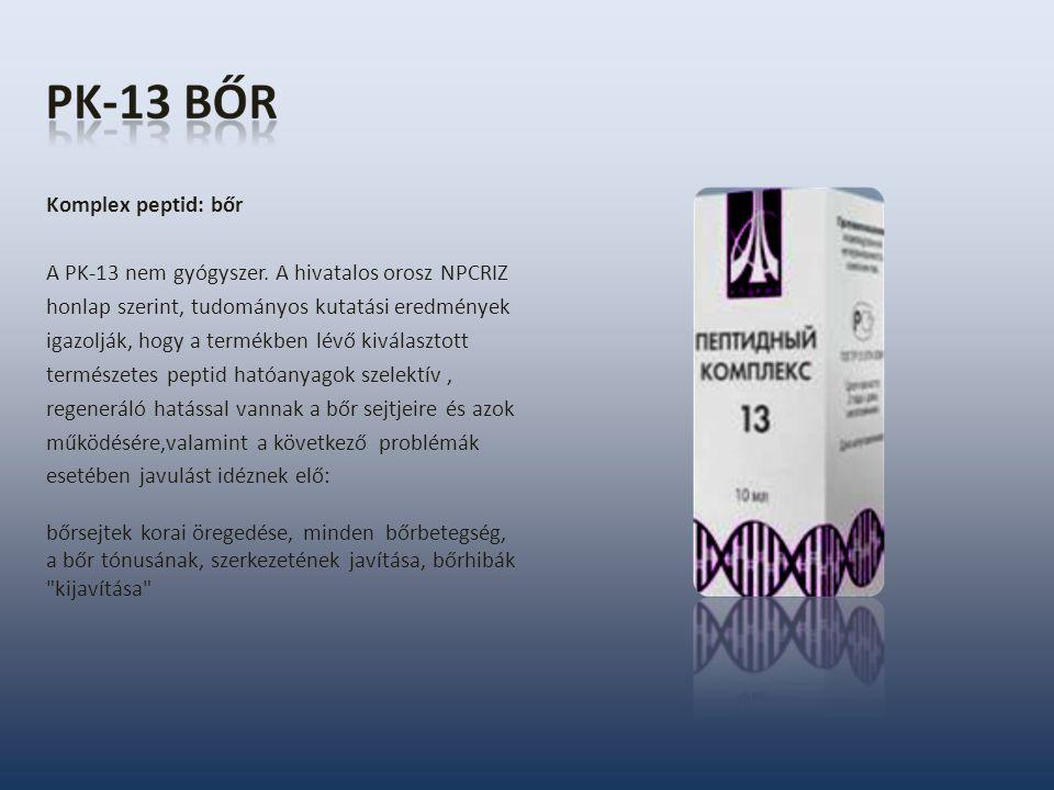 Komplex peptid: bőr A PK-13 nem gyógyszer. A hivatalos orosz NPCRIZ honlap szerint, tudományos kutatási eredmények igazolják, hogy a termékben lévő ki