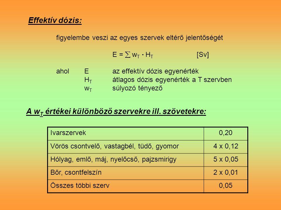 Effektív dózis: figyelembe veszi az egyes szervek eltérő jelentőségét E =  w T  H T [Sv] aholEaz effektív dózis egyenérték H T átlagos dózis egyenérték a T szervben w T súlyozó tényező A w T értékei különböző szervekre ill.