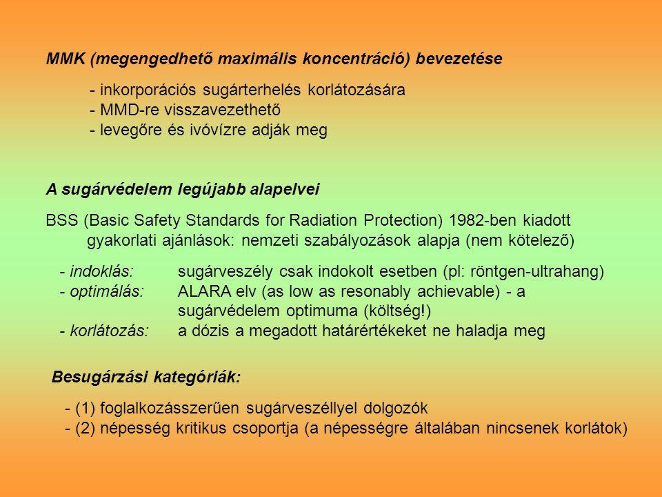 MMK (megengedhető maximális koncentráció) bevezetése - inkorporációs sugárterhelés korlátozására - MMD-re visszavezethető - levegőre és ivóvízre adják meg A sugárvédelem legújabb alapelvei BSS (Basic Safety Standards for Radiation Protection) 1982-ben kiadott gyakorlati ajánlások: nemzeti szabályozások alapja (nem kötelező) - indoklás:sugárveszély csak indokolt esetben (pl: röntgen-ultrahang) - optimálás:ALARA elv (as low as resonably achievable) - a sugárvédelem optimuma (költség!) - korlátozás:a dózis a megadott határértékeket ne haladja meg Besugárzási kategóriák: - (1) foglalkozásszerűen sugárveszéllyel dolgozók - (2) népesség kritikus csoportja (a népességre általában nincsenek korlátok)