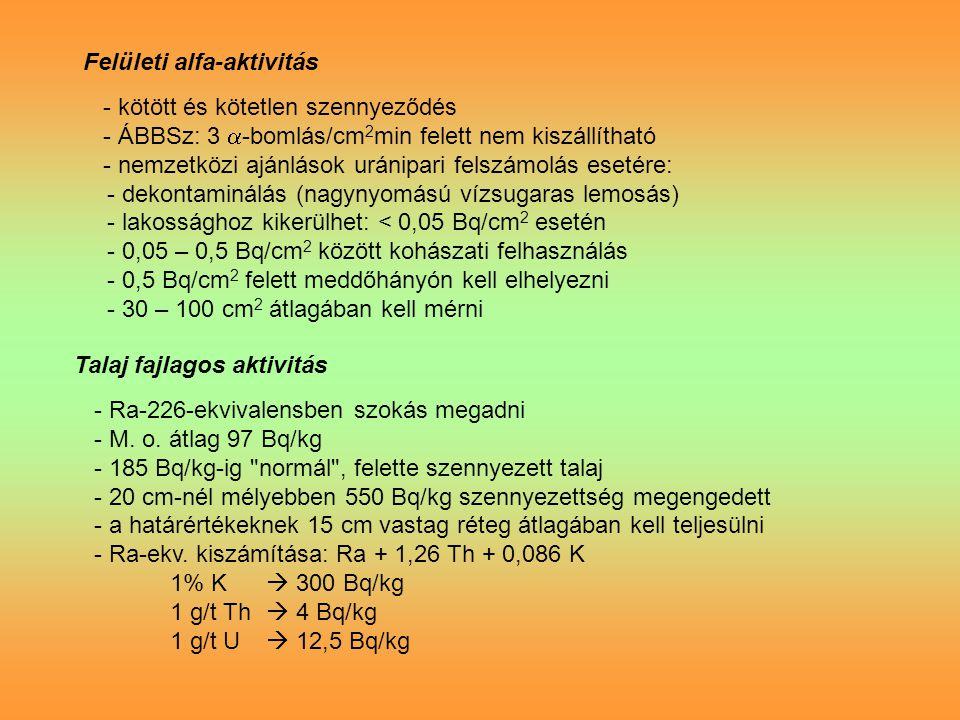 Felületi alfa-aktivitás - kötött és kötetlen szennyeződés - ÁBBSz: 3  -bomlás/cm 2 min felett nem kiszállítható - nemzetközi ajánlások uránipari felszámolás esetére: - dekontaminálás (nagynyomású vízsugaras lemosás) - lakossághoz kikerülhet: < 0,05 Bq/cm 2 esetén - 0,05 – 0,5 Bq/cm 2 között kohászati felhasználás - 0,5 Bq/cm 2 felett meddőhányón kell elhelyezni - 30 – 100 cm 2 átlagában kell mérni Talaj fajlagos aktivitás - Ra-226-ekvivalensben szokás megadni - M.