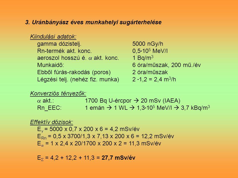 3.Uránbányász éves munkahelyi sugárterhelése Kiindulási adatok: gamma dózistelj.