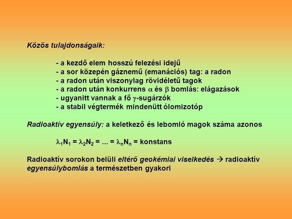 Közös tulajdonságaik: - a kezdő elem hosszú felezési idejű - a sor közepén gáznemű (emanációs) tag: a radon - a radon után viszonylag rövidéletű tagok - a radon után konkurrens  és  bomlás: elágazások - ugyanitt vannak a fő  -sugárzók - a stabil végtermék mindenütt ólomizotóp Radioaktív egyensúly: a keletkező és lebomló magok száma azonos 1 N 1 = 2 N 2 =...