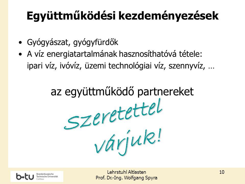 Lehrstuhl Altlasten Prof. Dr.-Ing. Wolfgang Spyra 10 Együttműködési kezdeményezések Gyógyászat, gyógyfürdők A víz energiatartalmának hasznosíthatóvá t