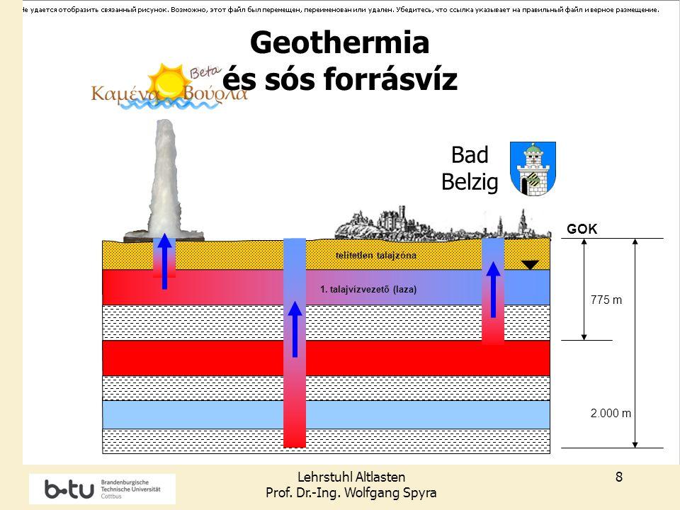 Lehrstuhl Altlasten Prof. Dr.-Ing. Wolfgang Spyra 8 GOK 1. talajvízvezető (laza) Grundwasserfließric htung telítetlen talajzóna 775 m Bad Belzig 2.000