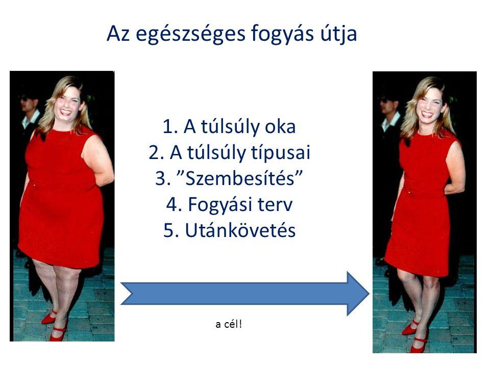 """Az egészséges fogyás útja 1. A túlsúly oka 2. A túlsúly típusai 3. """"Szembesítés"""" 4. Fogyási terv 5. Utánkövetés a cél!"""