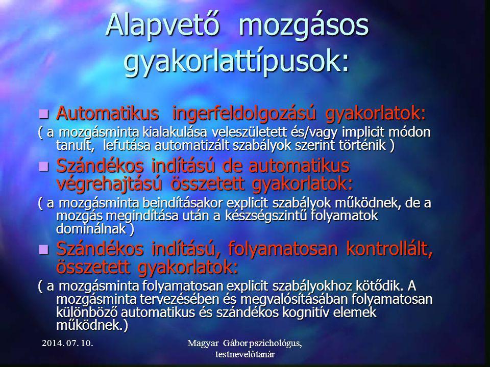 MOZGÁSKOTTA A GYAKORLATBAN 2014. 07. 10.Magyar Gábor pszichológus, testnevelőtanár
