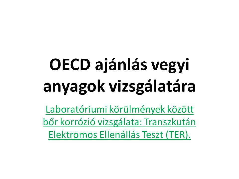 OECD ajánlás vegyi anyagok vizsgálatára Laboratóriumi körülmények között bőr korrózió vizsgálata: Transzkután Elektromos Ellenállás Teszt (TER).