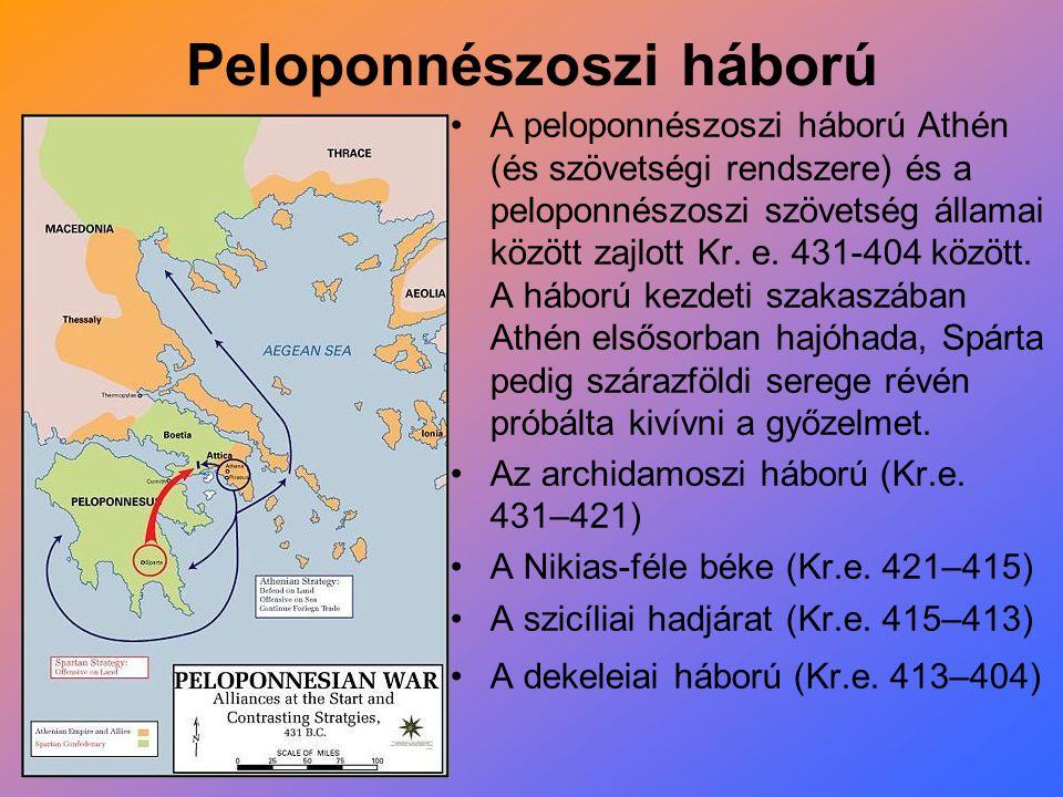 Peloponnészoszi háború A peloponnészoszi háború Athén (és szövetségi rendszere) és a peloponnészoszi szövetség államai között zajlott Kr. e. 431-404 k