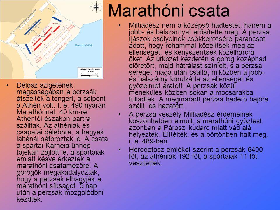 Marathóni csata Délosz szigetének magasságában a perzsák átszelték a tengert, a célpont a Athén volt. I. e. 490 nyarán Marathónnál, 40 km-re Athéntól