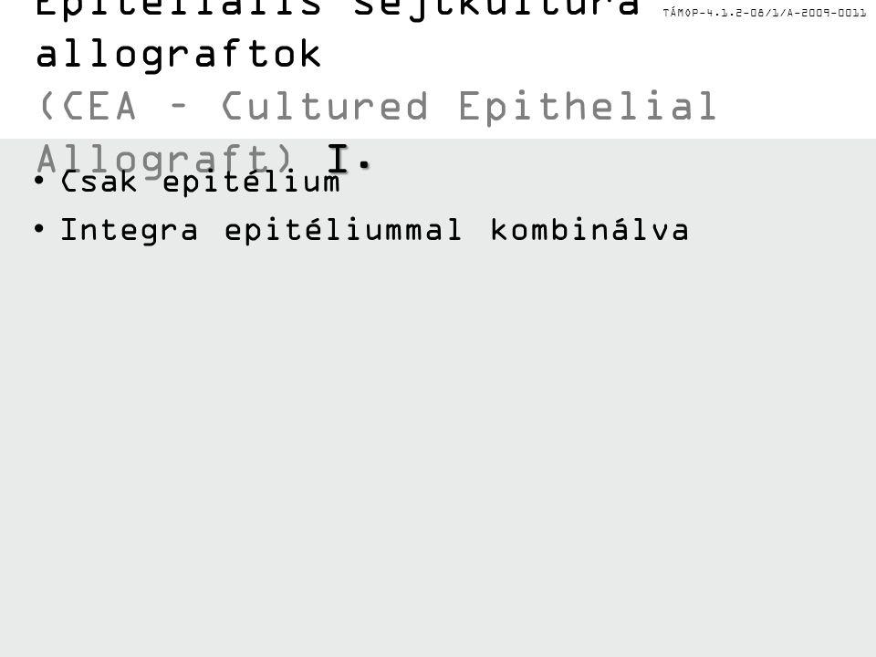 TÁMOP-4.1.2-08/1/A-2009-0011 I. Epitéliális sejtkultúra allograftok (CEA – Cultured Epithelial Allograft) I. Csak epitélium Integra epitéliummal kombi