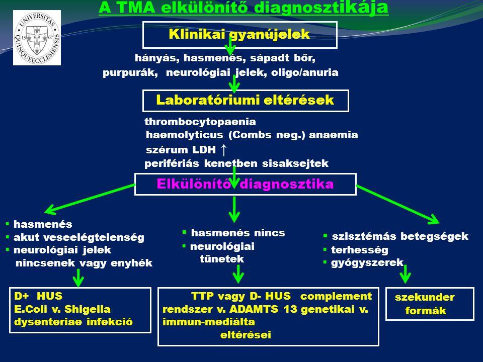 A TMA elkülönítő diagnoszt ikája Klinikai gyanújelek hányás, hasmenés, sápadt bőr, purpurák, neurológiai jelek, oligo/anuria Laboratóriumi eltérések t