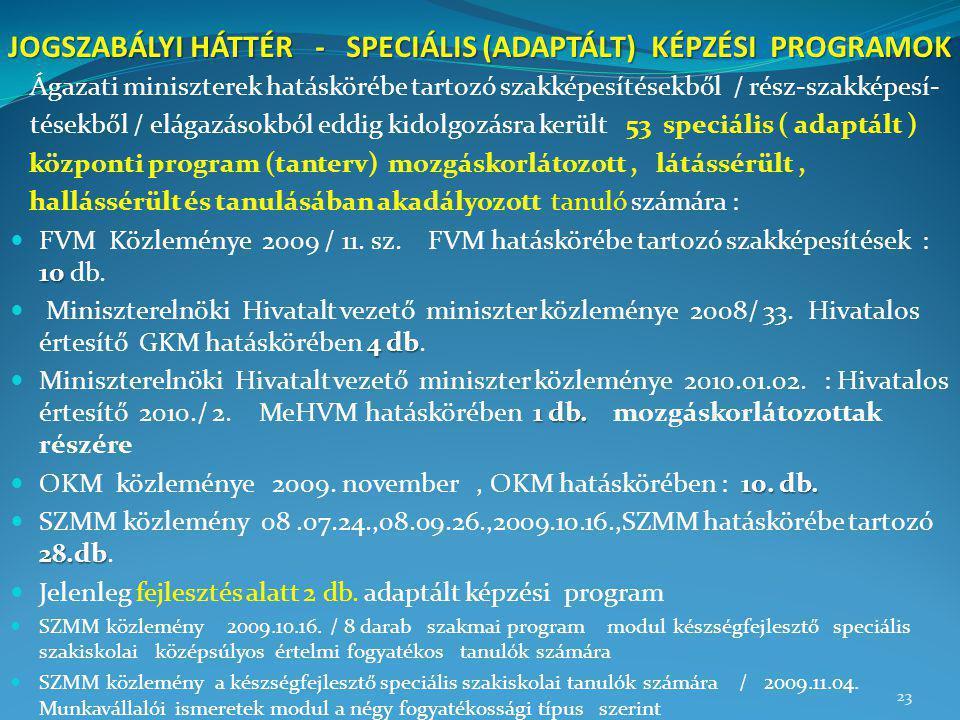 JOGSZABÁLYI HÁTTÉR - SPECIÁLIS (ADAPTÁLT) KÉPZÉSI PROGRAMOK Ágazati miniszterek hatáskörébe tartozó szakképesítésekből / rész-szakképesí- tésekből / e
