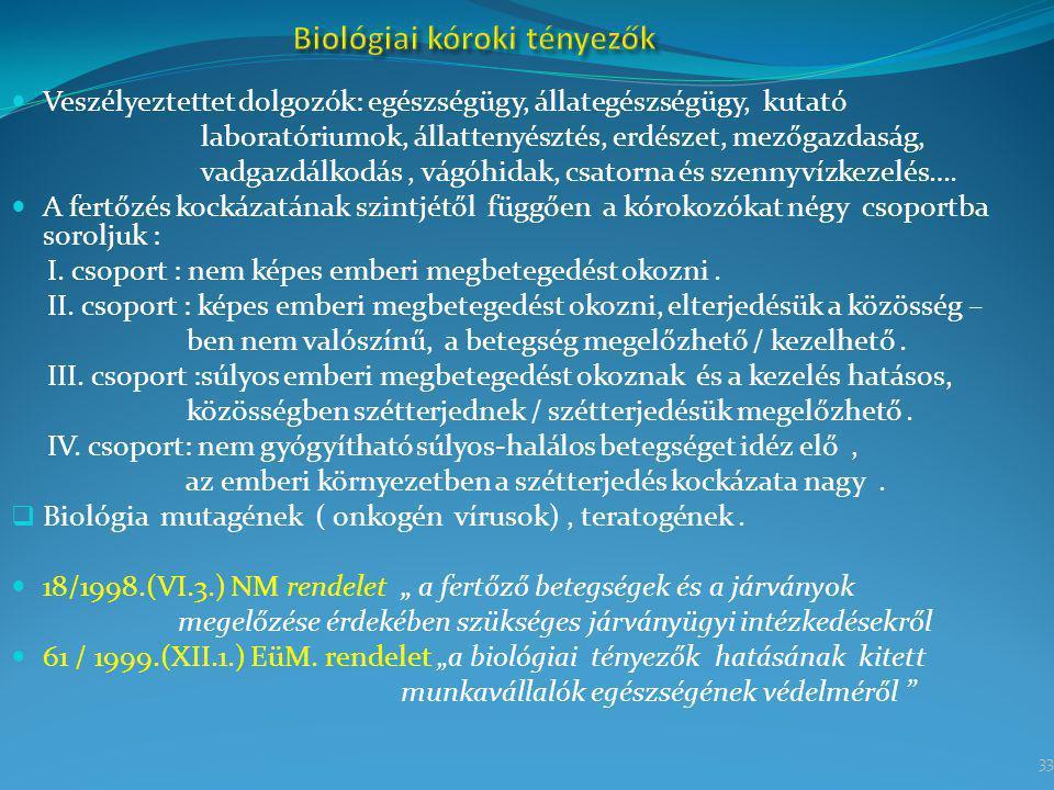 33 Veszélyeztettet dolgozók: egészségügy, állategészségügy, kutató laboratóriumok, állattenyésztés, erdészet, mezőgazdaság, vadgazdálkodás, vágóhidak,