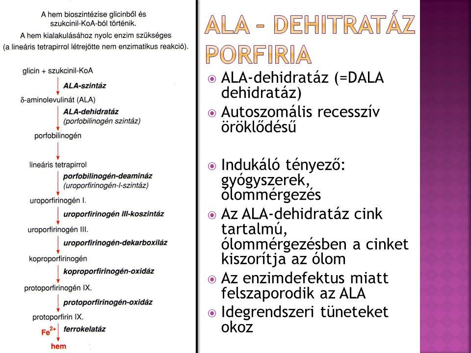  ALA-dehidratáz (=DALA dehidratáz)  Autoszomális recesszív öröklődésű  Indukáló tényező: gyógyszerek, ólommérgezés  Az ALA-dehidratáz cink tartalm