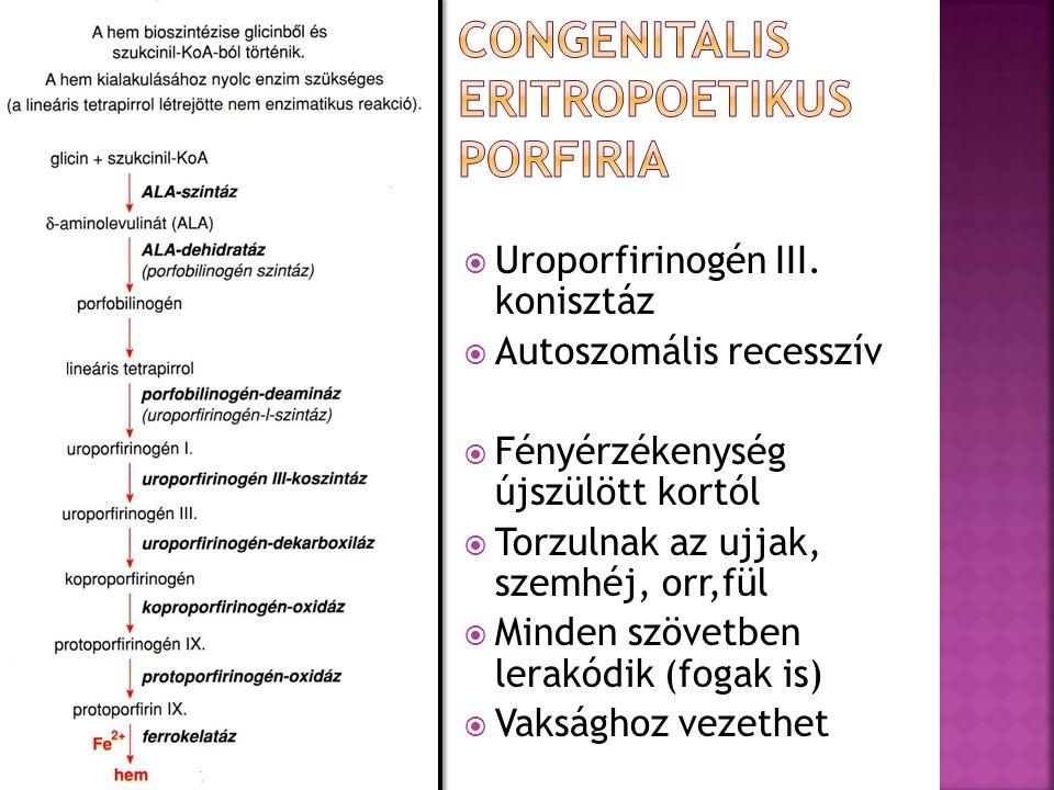  Uroporfirinogén III. konisztáz  Autoszomális recesszív  Fényérzékenység újszülött kortól  Torzulnak az ujjak, szemhéj, orr,fül  Minden szövetben