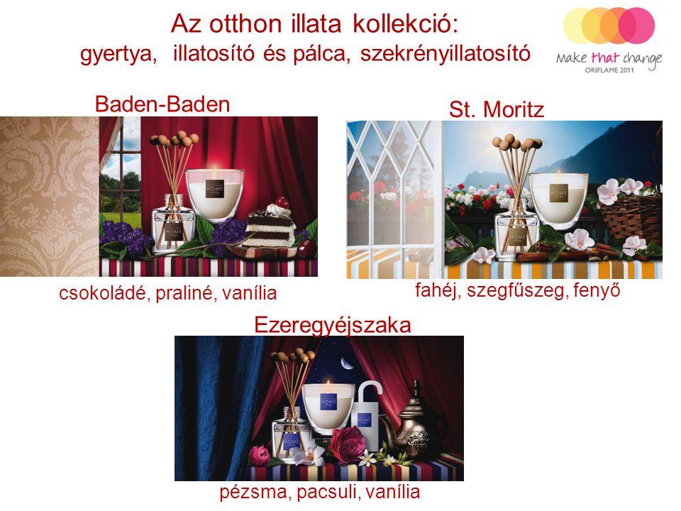 Az otthon illata kollekció: gyertya, illatosító és pálca, szekrényillatosító Baden-Baden St. Moritz Ezeregyéjszaka csokoládé, praliné, vanília fahéj,