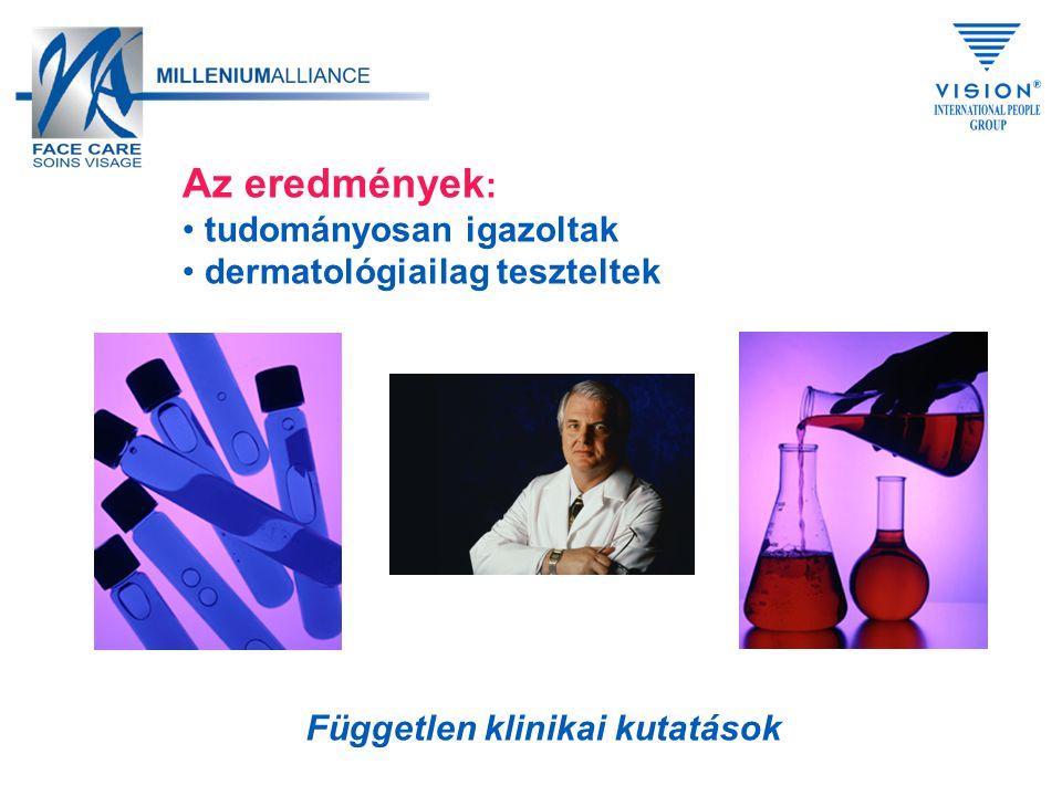 Az eredmények : tudományosan igazoltak dermatológiailag teszteltek Független klinikai kutatások
