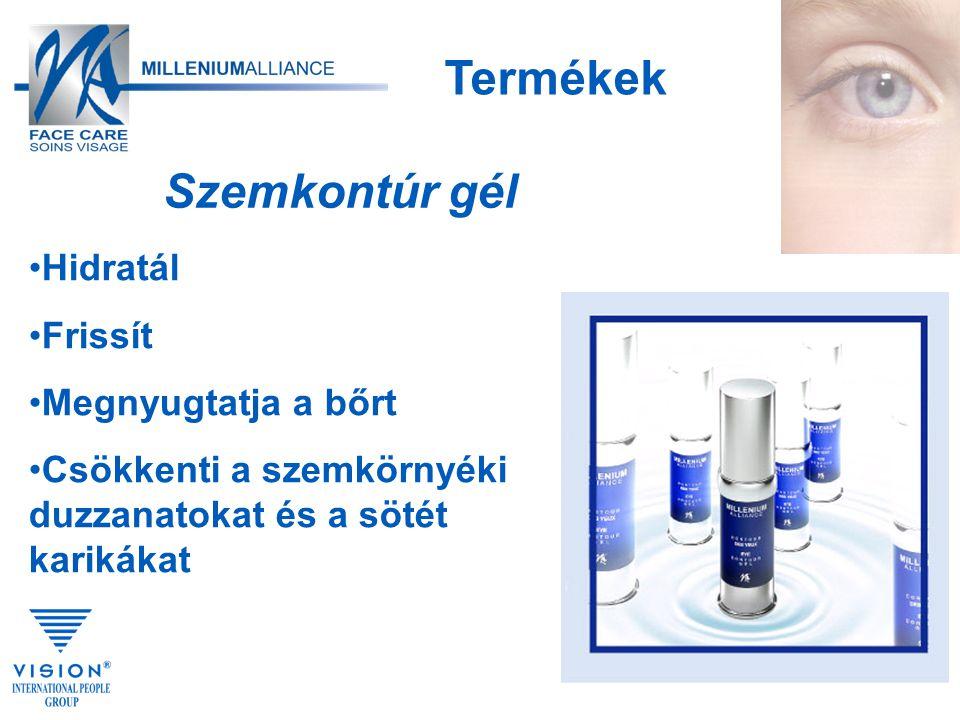 Hidratál Frissít Megnyugtatja a bőrt Csökkenti a szemkörnyéki duzzanatokat és a sötét karikákat Termékek Szemkontúr gél