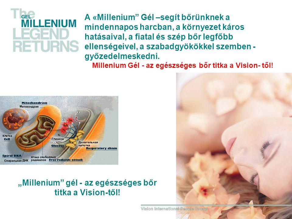 A «Millenium Gél –segít bőrünknek a mindennapos harcban, a környezet káros hatásaival, a fiatal és szép bőr legfőbb ellenségeivel, a szabadgyökökkel szemben - győzedelmeskedni.