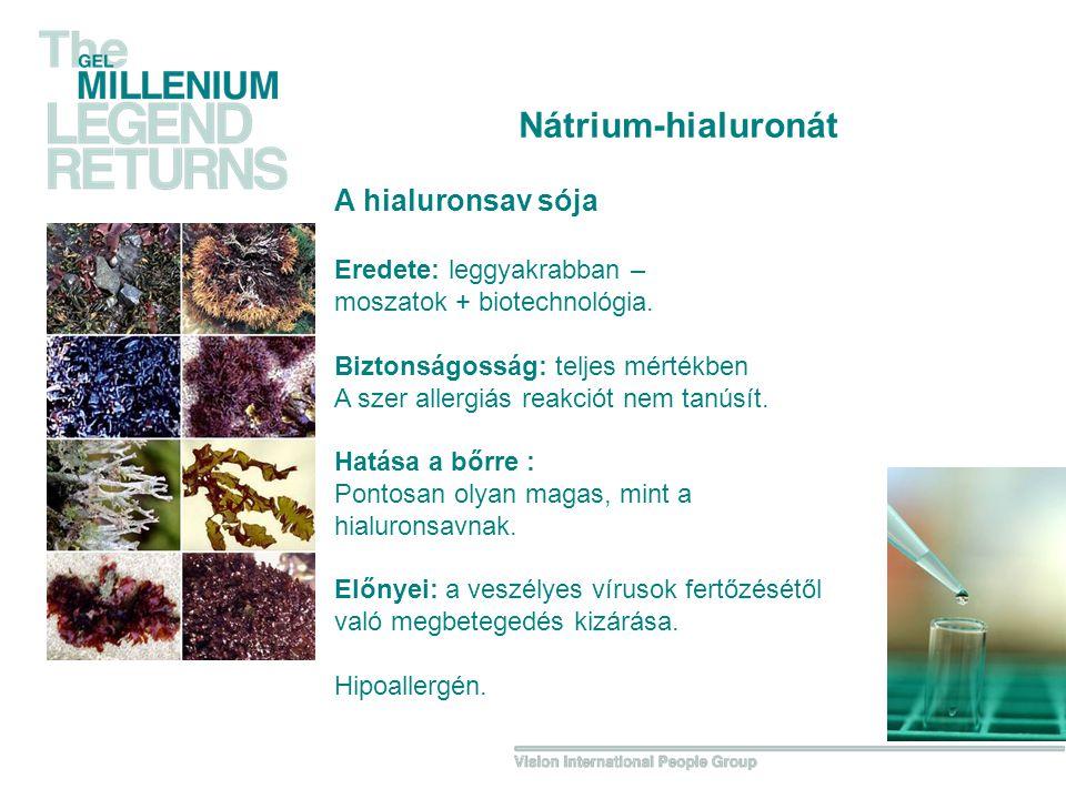 A hialuronsav sója Eredete: leggyakrabban – moszatok + biotechnológia.
