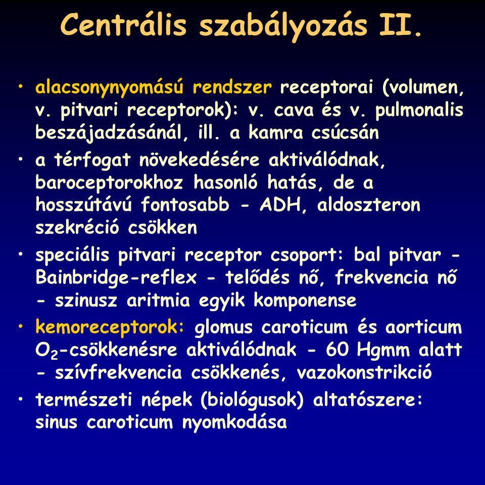 Centrális szabályozás II.alacsonynyomású rendszer receptorai (volumen, v.