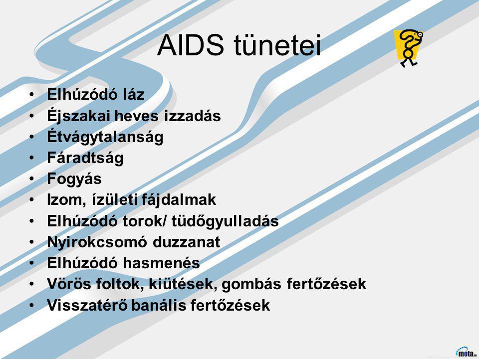 AIDS tünetei Elhúzódó láz Éjszakai heves izzadás Étvágytalanság Fáradtság Fogyás Izom, ízületi fájdalmak Elhúzódó torok/ tüdőgyulladás Nyirokcsomó duzzanat Elhúzódó hasmenés Vörös foltok, kiütések, gombás fertőzések Visszatérő banális fertőzések