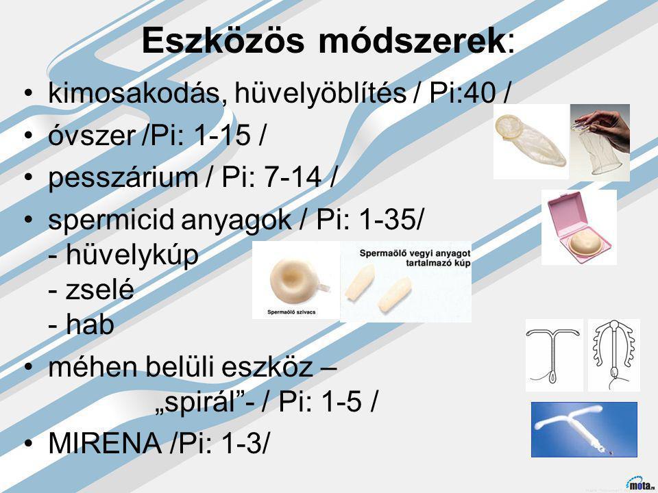 """Eszközös módszerek: kimosakodás, hüvelyöblítés / Pi:40 / óvszer /Pi: 1-15 / pesszárium / Pi: 7-14 / spermicid anyagok / Pi: 1-35/ - hüvelykúp - zselé - hab méhen belüli eszköz – """"spirál - / Pi: 1-5 / MIRENA /Pi: 1-3/"""