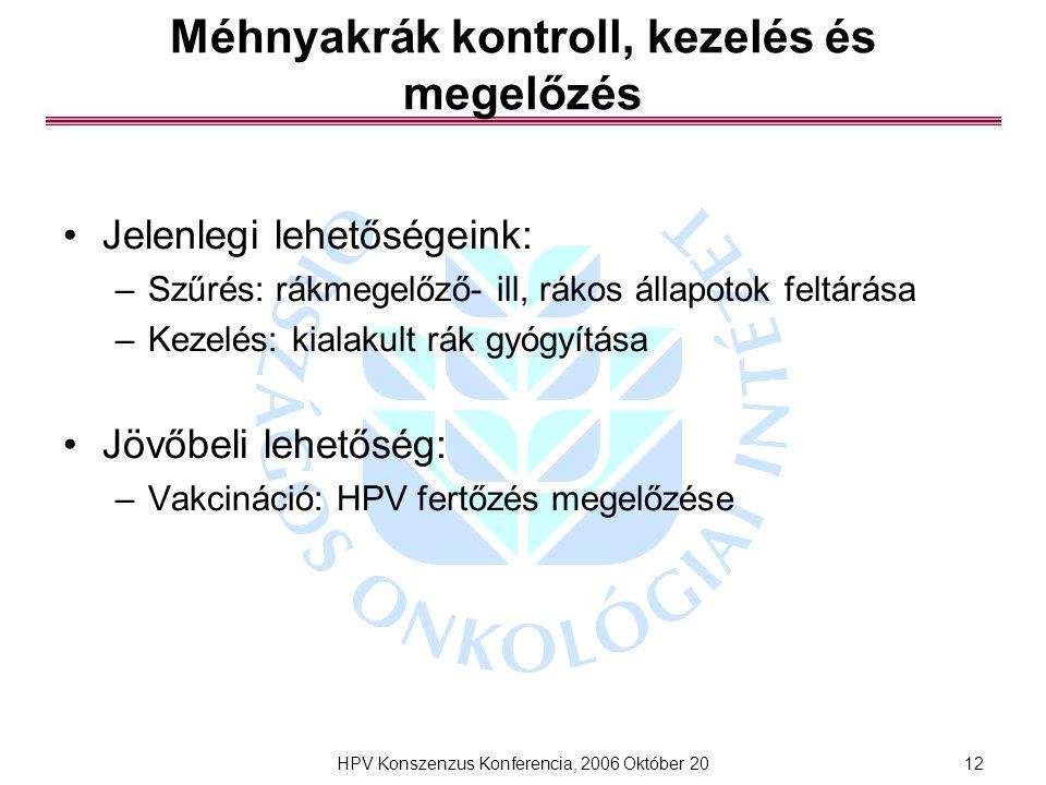 HPV Konszenzus Konferencia, 2006 Október 2012 Méhnyakrák kontroll, kezelés és megelőzés Jelenlegi lehetőségeink: –Szűrés: rákmegelőző- ill, rákos állapotok feltárása –Kezelés: kialakult rák gyógyítása Jövőbeli lehetőség: –Vakcináció: HPV fertőzés megelőzése