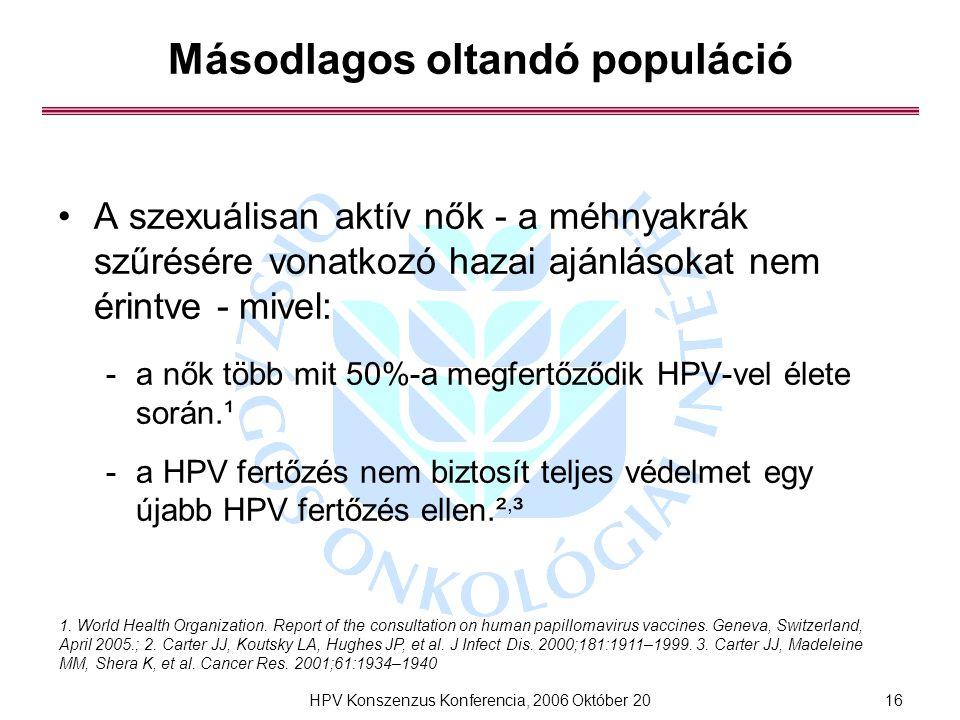 HPV Konszenzus Konferencia, 2006 Október 2016 Másodlagos oltandó populáció A szexuálisan aktív nők - a méhnyakrák szűrésére vonatkozó hazai ajánlásokat nem érintve - mivel: -a nők több mit 50%-a megfertőződik HPV-vel élete során.¹ -a HPV fertőzés nem biztosít teljes védelmet egy újabb HPV fertőzés ellen.², ³ 1.