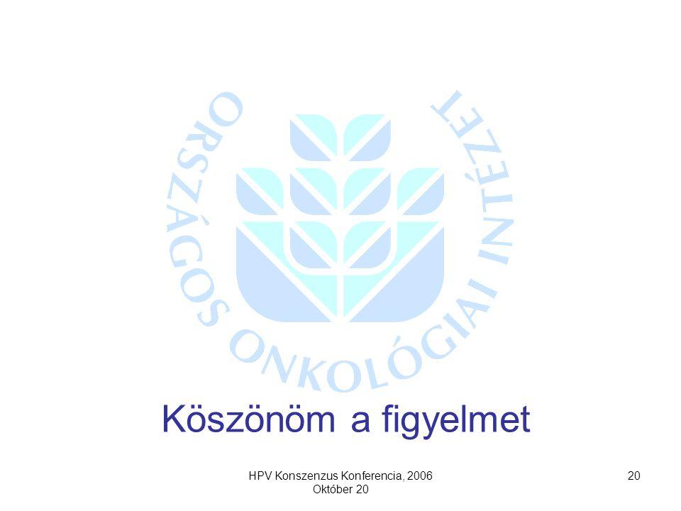 HPV Konszenzus Konferencia, 2006 Október 20 20 Köszönöm a figyelmet