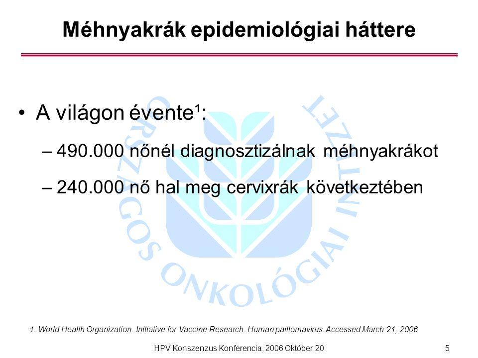 HPV Konszenzus Konferencia, 2006 Október 205 Méhnyakrák epidemiológiai háttere A világon évente¹: –490.000 nőnél diagnosztizálnak méhnyakrákot –240.000 nő hal meg cervixrák következtében 1.