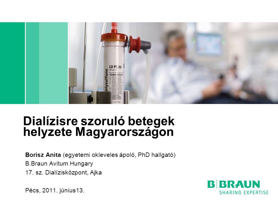 Dialízisre szoruló betegek helyzete Magyarországon Borisz Anita (egyetemi okleveles ápoló, PhD hallgató) B.Braun Avitum Hungary 17. sz. Dialízisközpon