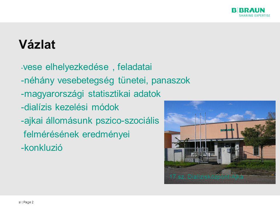 sl | Page Vázlat - vese elhelyezkedése, feladatai -néhány vesebetegség tünetei, panaszok -magyarországi statisztikai adatok -dialízis kezelési módok -
