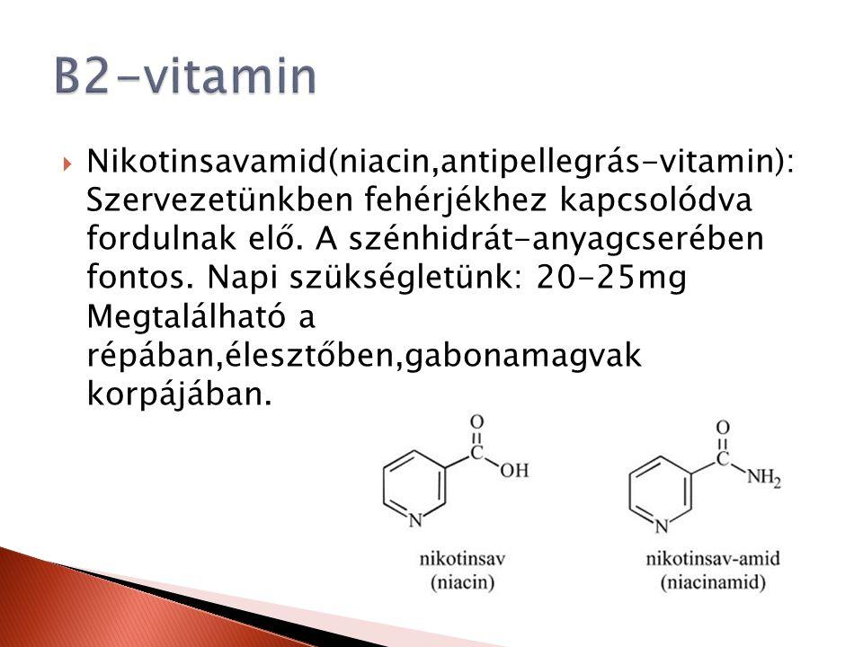  Nikotinsavamid(niacin,antipellegrás-vitamin): Szervezetünkben fehérjékhez kapcsolódva fordulnak elő. A szénhidrát-anyagcserében fontos. Napi szükség