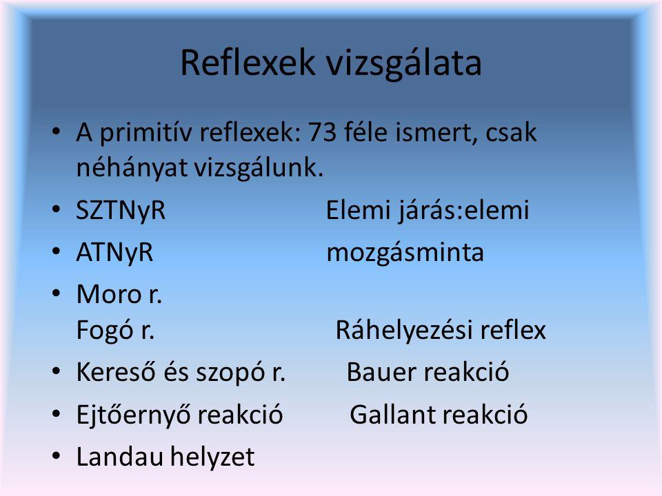 Reflexek vizsgálata A primitív reflexek: 73 féle ismert, csak néhányat vizsgálunk.