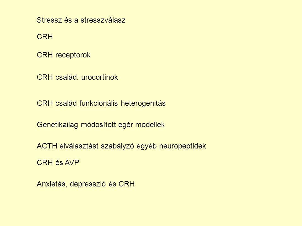 CRH CRH receptorok CRH család: urocortinok CRH család funkcionális heterogenitás Genetikailag módosított egér modellek ACTH elválasztást szabályzó egyéb neuropeptidek CRH és AVP Stressz és a stresszválasz Anxietás, depresszió és CRH