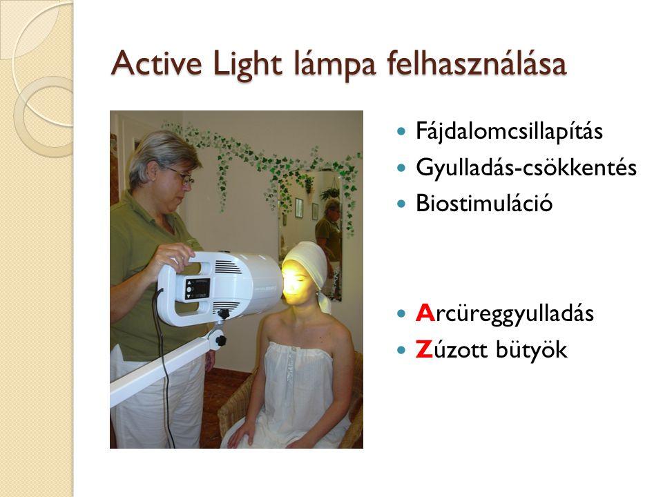 Active Light lámpa felhasználása Fájdalomcsillapítás Gyulladás-csökkentés Biostimuláció Arcüreggyulladás Zúzott bütyök